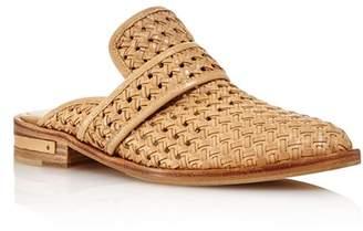 Freda Salvador Women's Keen Almond Toe Croc-Embossed Leather Mules
