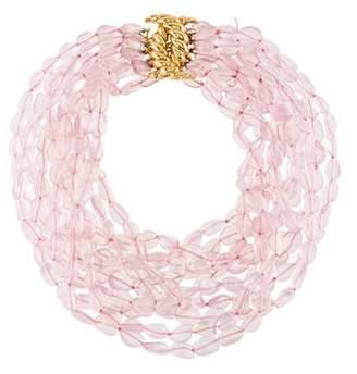 Verdura 18K Rose Quartz Bead Necklace