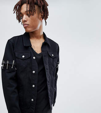 Asos Sixth June denim jacket with safety pins in black exclusive to