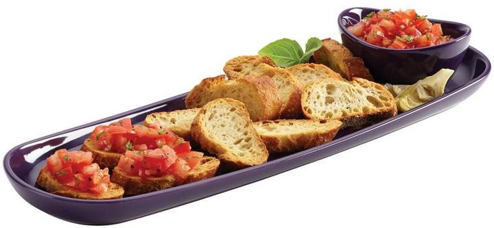 Rachael Ray Baguette Tray with Dipping Cup, Purple