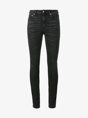 Saint Laurent Washed Black Mid Rise Skinny Jeans