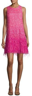 Parker Allegra Sleeveless Ostrich Feather-Trim Beaded Cocktail Dress, Azalea $498 thestylecure.com