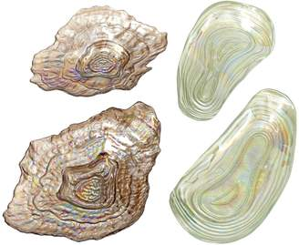Twos Company Sea Glass Lustrous Shell Plates (Set of 4)