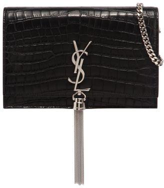 Saint Laurent Kate Monogram Embossed Bag W/ Tassel