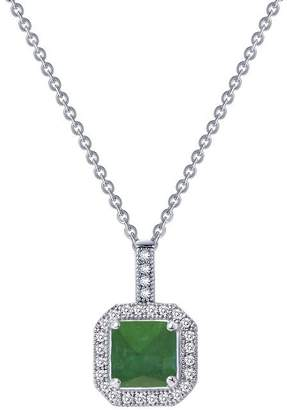Lafonn Classic Sterling Silver Platinum Plated Lassire Emerald Necklace (1.52 CTTW)