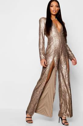 boohoo Boutique Long Sleeve Plunge Sequin Split Jumpsuit
