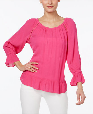 INC International Concepts Crepe Peasant Top, Only at Macy's $69.50 thestylecure.com