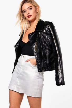 boohoo Silver Metallic Coated Denim Mini Skirt