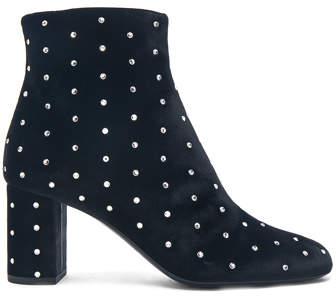 Saint Laurent Crystal Embellished Velvet Loulou Pin Boots