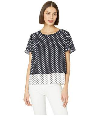 Vince Camuto Flutter Short Sleeve Tiered Diamond Geo Color Block Blouse