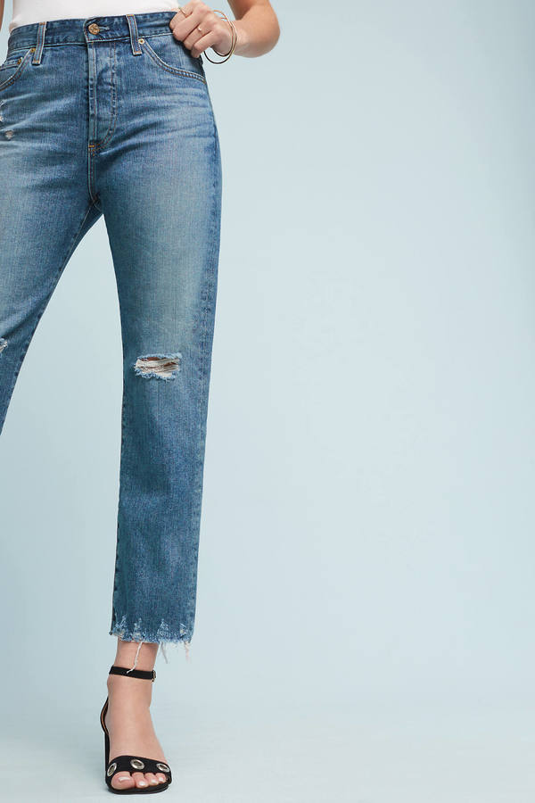 AG JeansAG Sloan Ultra High-Rise Straight Cropped Jeans