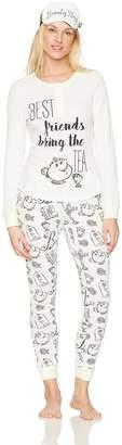 Disney Women's Belle Long Sleeve Pajama 2 Piece Set with Eye mask