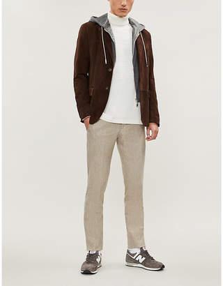 Eleventy Hood-detail suede jacket