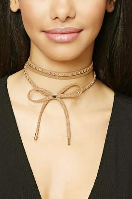 Forever 21 Layered Studded Bow Choker
