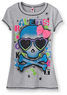 Beautees Girls' 7-16 Grey Lets Rock Out Skull Tee