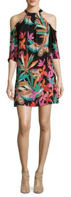 Trina Turk Spirit Cold-Shoulder Silk Dress $368 thestylecure.com