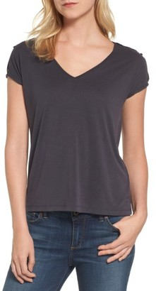 Women's Lucky Brand Slit Sleeve V-Neck Tee $39.50 thestylecure.com
