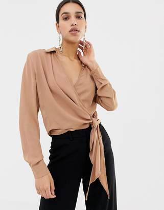 Missguided tie side wrap blouse in camel