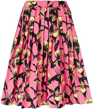 Prada floral pleated skirt