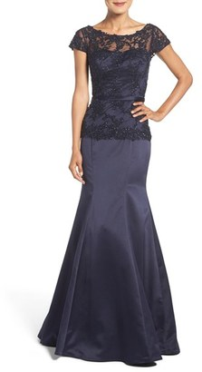 Women's La Femme Fashions Embroidered Beaded Lace & Satin Mermaid Gown $568 thestylecure.com