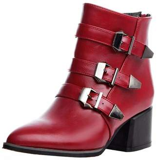 33caf595cc9a Vitalo Womens Mid Chunky Heel Pointed Toe Ankle Boots Zip Up Buckles Autumn  Winter Shoes Size