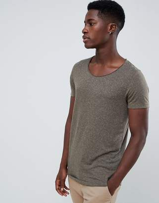 Asos Design DESIGN longline t-shirt with raw scoop neck and curve hem in linen mix in khaki