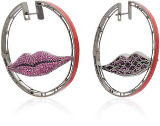 Wendy Yue 18K White Gold Enamel And Ruby Hoop Earrings