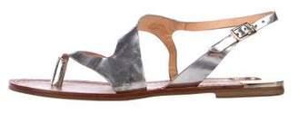 Diane von Furstenberg silver patent leather sandals