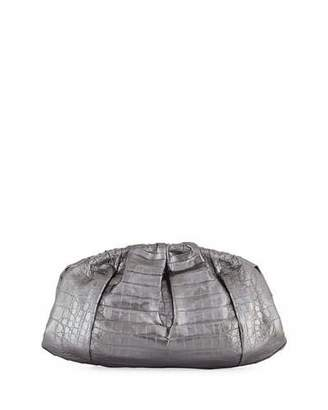 Nancy Gonzalez Ruched Metallic Crocodile Clutch Bag