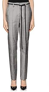 Off-White WOMEN'S CHECKED COTTON TWILL BELTED TROUSERS - GRAY SIZE 42 IT