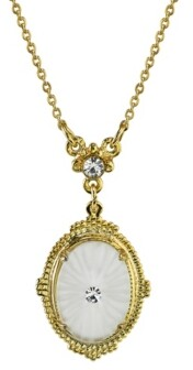 "Downton Abbey Gold-Tone Frosted Lalique-Inspired Oval Pendant Necklace 16"" Adjustable"