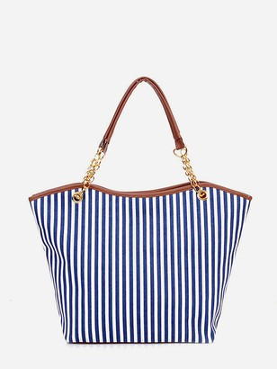 Shein Vertical Striped Tote Bag With Tassel Detail