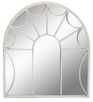 DecMode Decmode Contemporary 35 X 35 Inch Metal And Wood Arch Window-Inspired Wall Mirror, Silver