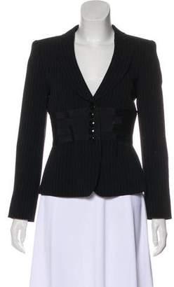 Armani Collezioni Pinstripe Button-Up Jacket