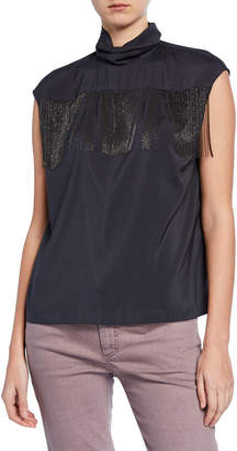 Brunello Cucinelli Cowl-Neck Top w\/ Beaded Fringe Detail