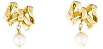 18K Pearl Bow Drop Earrings