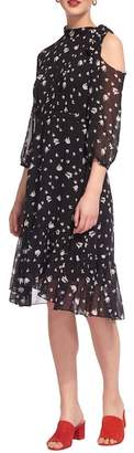 Whistles Tulip Print Tie Neck Dress