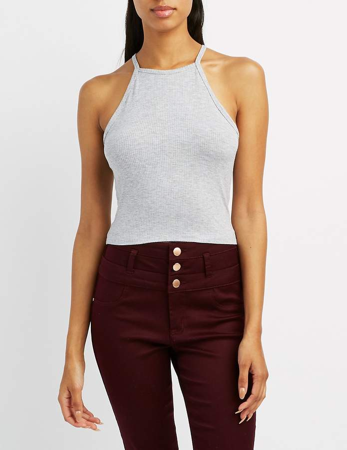 Charlotte Russe Ribbed Bib Neck Crop Top