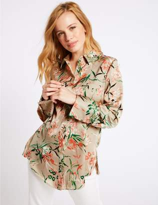 Marks and Spencer PETITE Floral Print Satin Long Sleeve Shirt