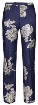Alexander McQueen Floral Jacquard Straight Leg Trousers - Womens - Navy Multi