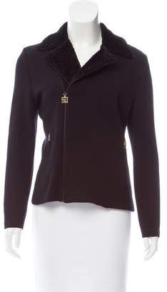 St. John Sport Shearling-Trimmed Zip-Up Jacket