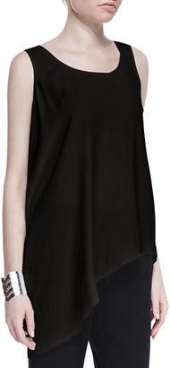 Eileen Fisher Silk Asymmetric Draped Shell, Plus Size $190 thestylecure.com