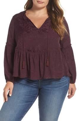 Lucky Brand Lux Jacquard Peasant Top