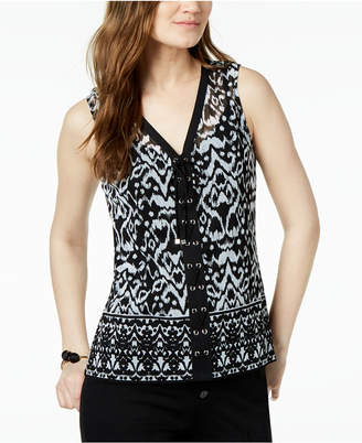 INC International Concepts I.n.c. Lace-Up Top, Created for Macy's