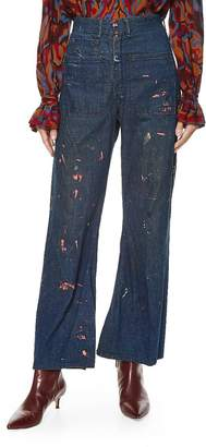 Vintage 1940s Denim Paint Splatter Bell Bottoms