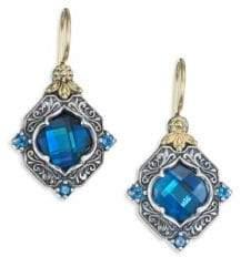 Konstantino Thalassa London Blue Topaz, Sterling Silver& 18K Yellow Gold Drop Earrings