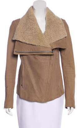 Helmut Lang Leather Shearling-Trimmed Jacket