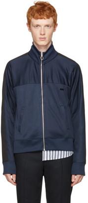AMI Alexandre Mattiussi Navy Track Zip-Up Pullover $295 thestylecure.com
