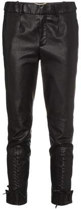 Saint Laurent mid rise slim fit cropped leather trousers