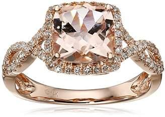 14k Rose Gold Morganite and Diamond Cushion Infinity Ring (1/4cttw